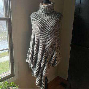Gray & Cream Boho Asymmetrical Knit Poncho
